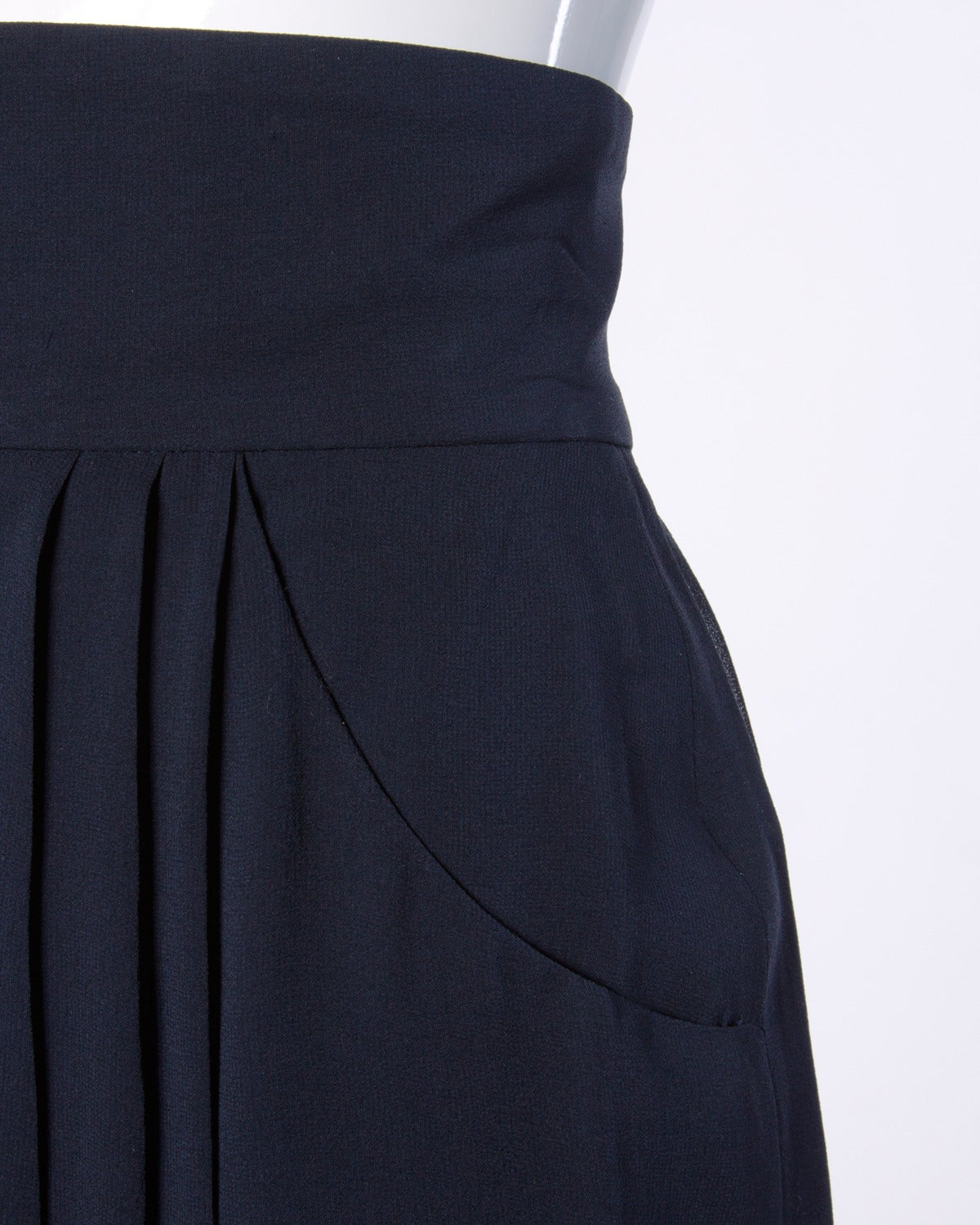 Chanel Vintage Navy Blue Pleated Silk Chiffon Skirt 3
