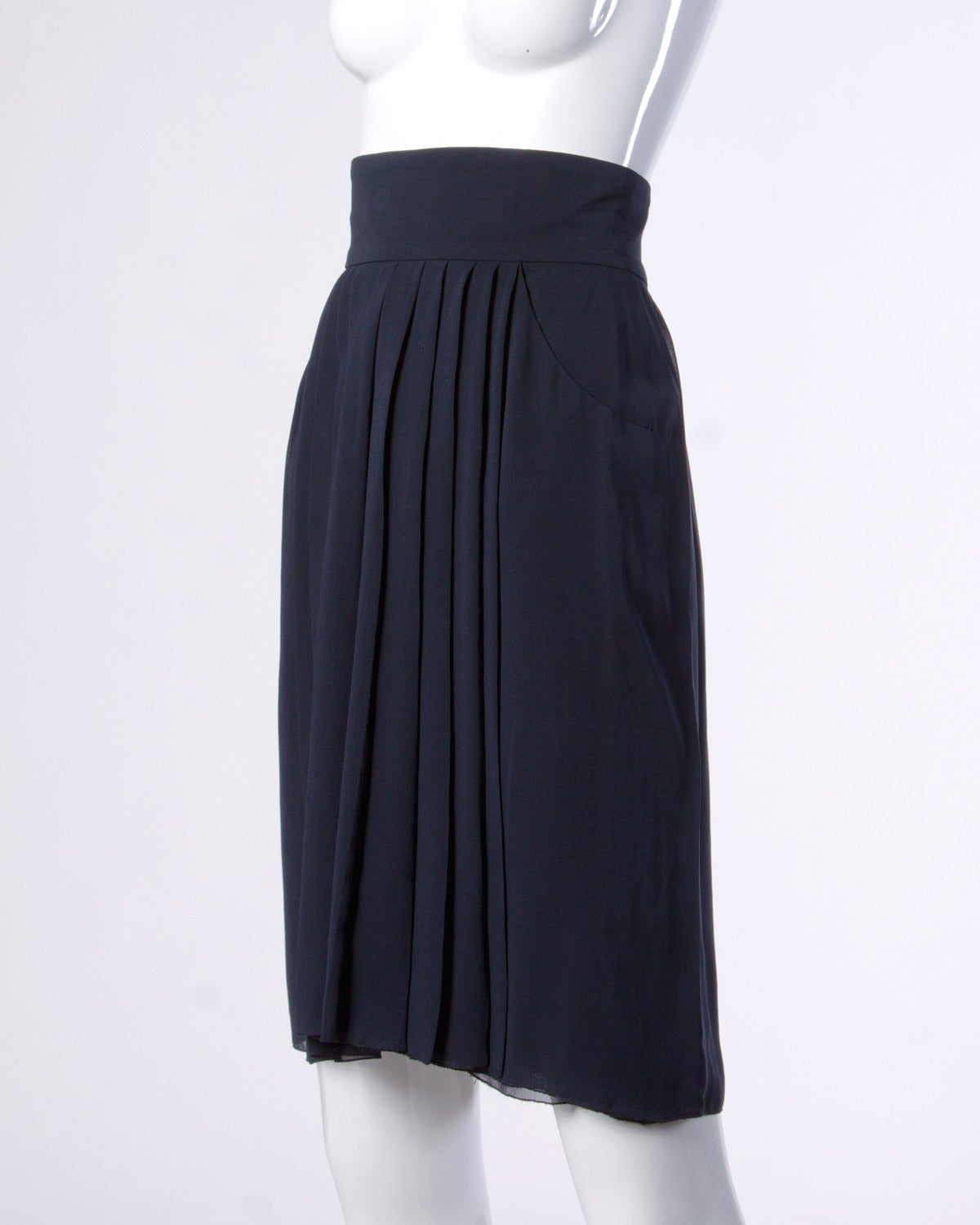 chanel vintage navy blue pleated silk chiffon skirt for