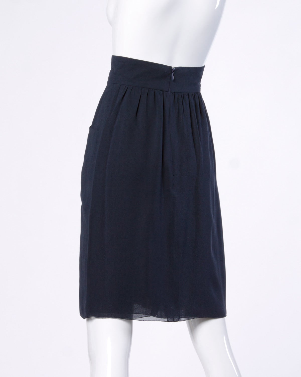 Chanel Vintage Navy Blue Pleated Silk Chiffon Skirt 6
