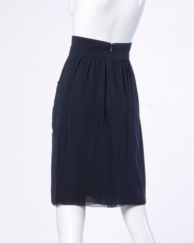 chanel vintage navy blue pleated silk chiffon skirt at 1stdibs