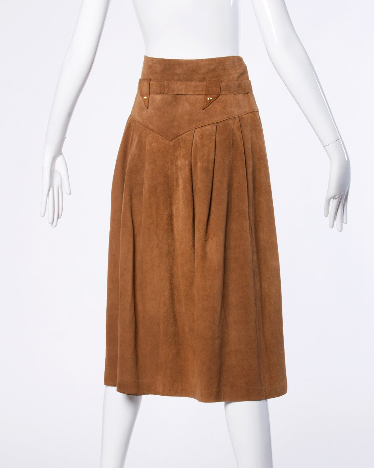 Claude Montana pour Ideal Cuir Vintage 1980s 80s Brown Leather Skirt In Excellent Condition For Sale In Sparks, NV