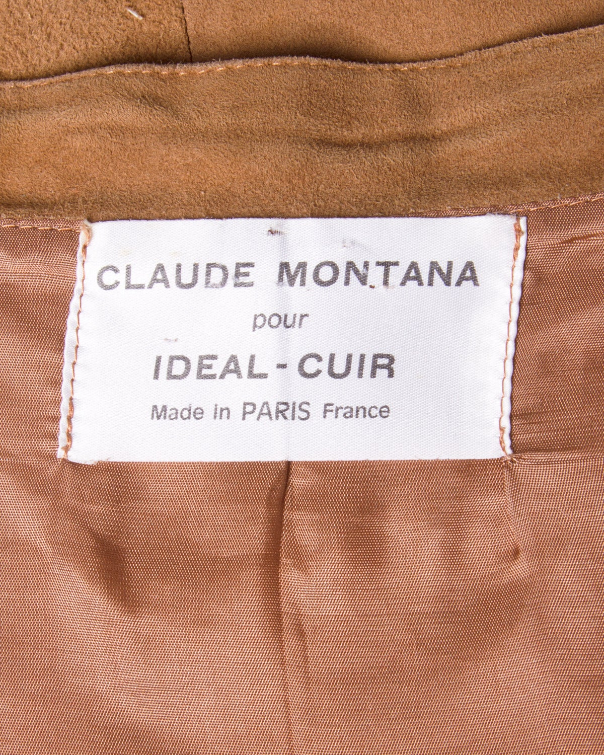 Claude Montana pour Ideal Cuir Vintage 1980s 80s Brown Leather Skirt For Sale 1