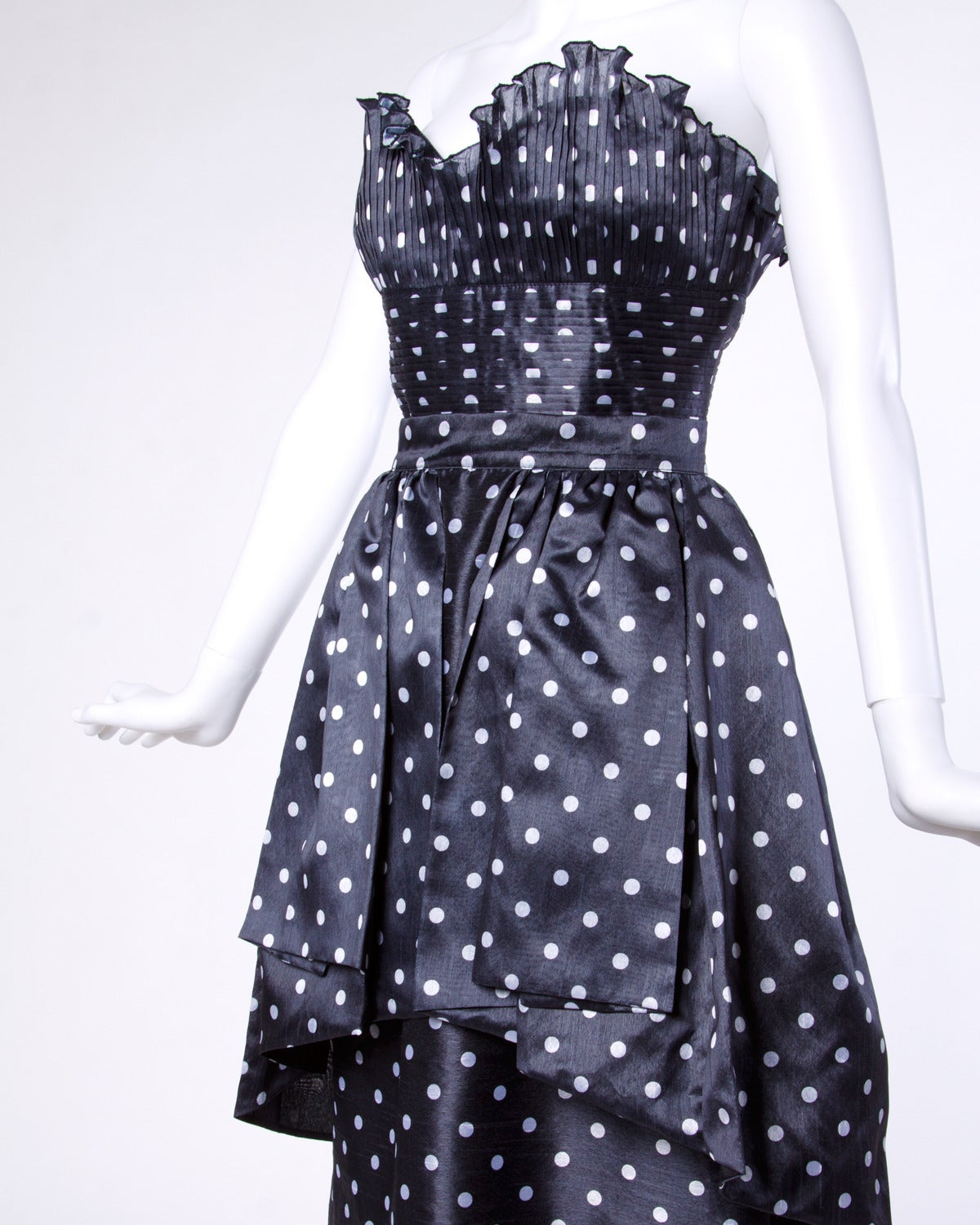 Loris Azzaro Vintage Polka Dot Bustier Top + Skirt 2-Piece Dress Ensemble For Sale 2
