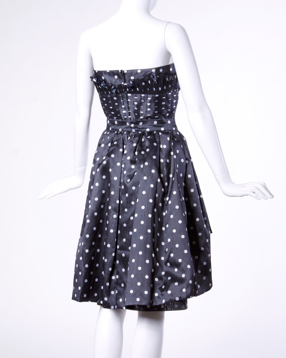 Loris Azzaro Vintage Polka Dot Bustier Top + Skirt 2-Piece Dress Ensemble For Sale 1