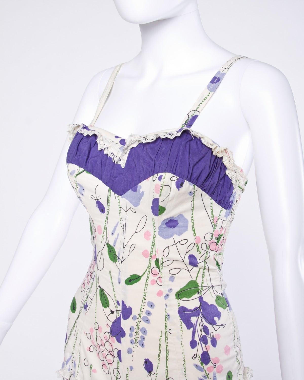 Vintage 1940s 40s Jantzen Floral Print Lace Pin-Up Swim Bathing Suit 2