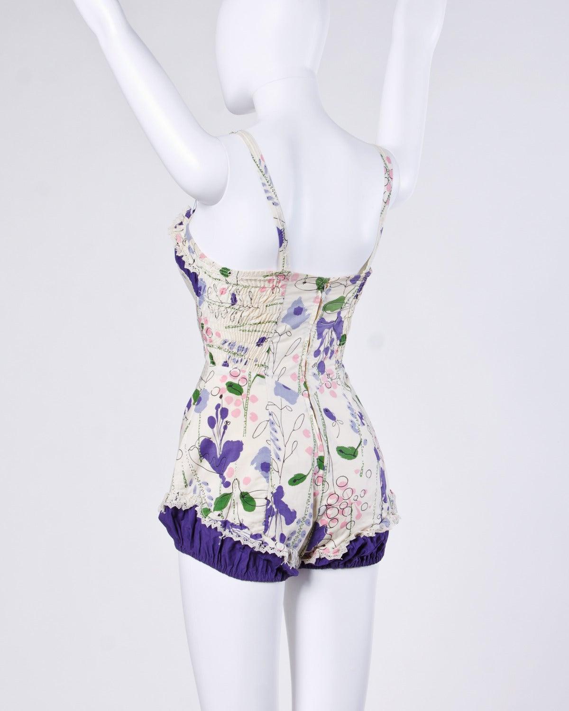 Vintage 1940s 40s Jantzen Floral Print Lace Pin-Up Swim Bathing Suit 3