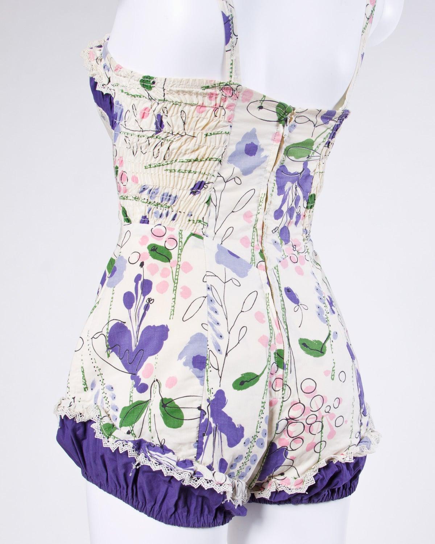 Vintage 1940s 40s Jantzen Floral Print Lace Pin-Up Swim Bathing Suit 5