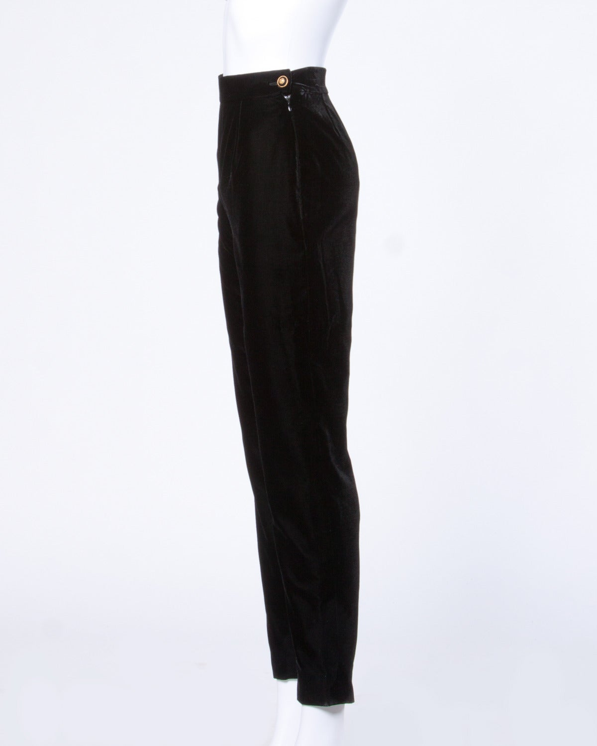 A/W 1993 Chanel Vintage Black Velvet High Waist Drainpipe Pants In Excellent Condition For Sale In Sparks, NV