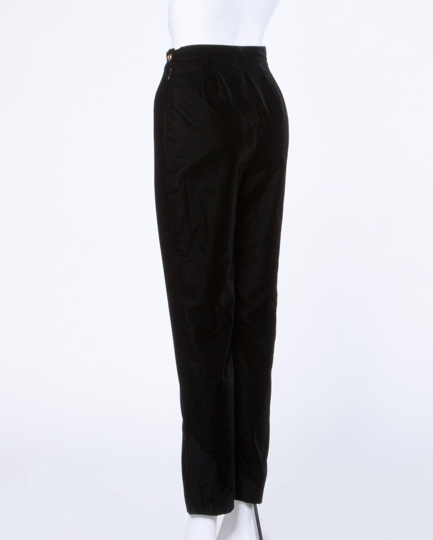 Women's A/W 1993 Chanel Vintage Black Velvet High Waist Drainpipe Pants For Sale