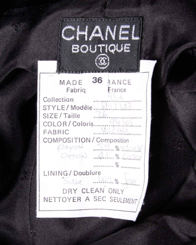 A/W 1993 Chanel Vintage Black Velvet High Waist Drainpipe Pants For Sale 1