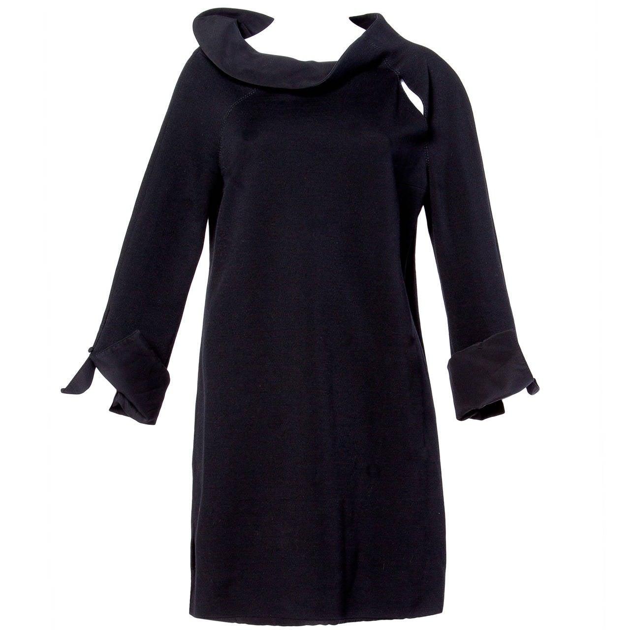 Gianfranco Ferre Vintage Black Wool Silk Avant Garde Cut Out Tunic Dress