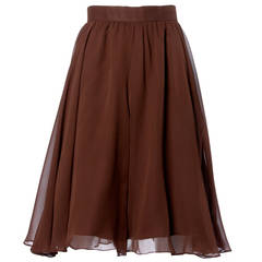Carolina Herrera Vintage Brown Silk Chiffon Wide Leg Shorts/ Skirt