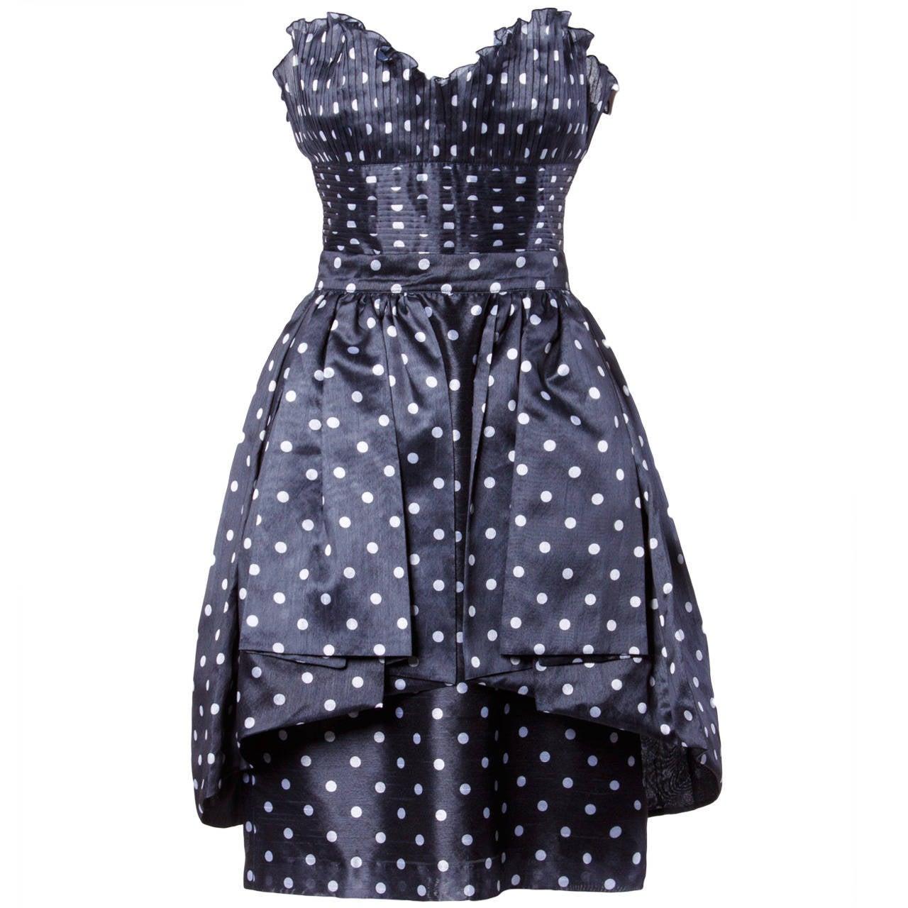 Loris Azzaro Vintage Polka Dot Bustier Top + Skirt 2-Piece Dress Ensemble