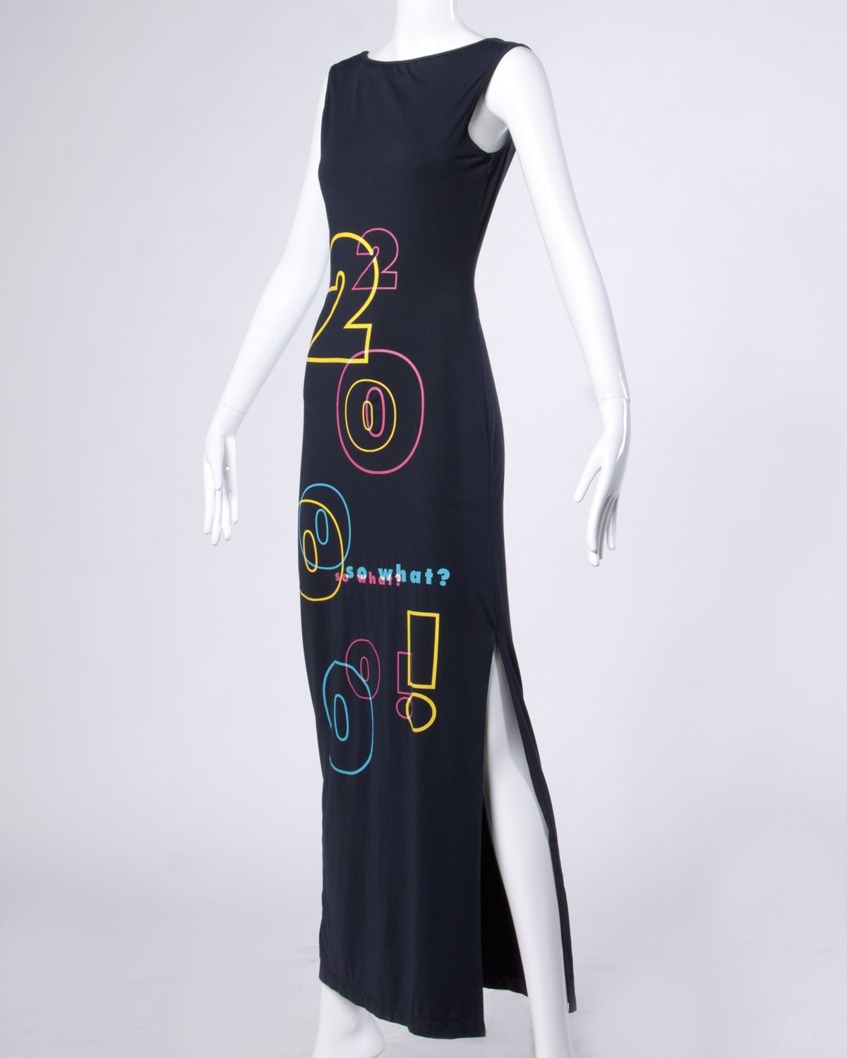 "Black Moschino Jeans ""2000 so what?"" Y2K Millennium Maxi Dress For Sale"