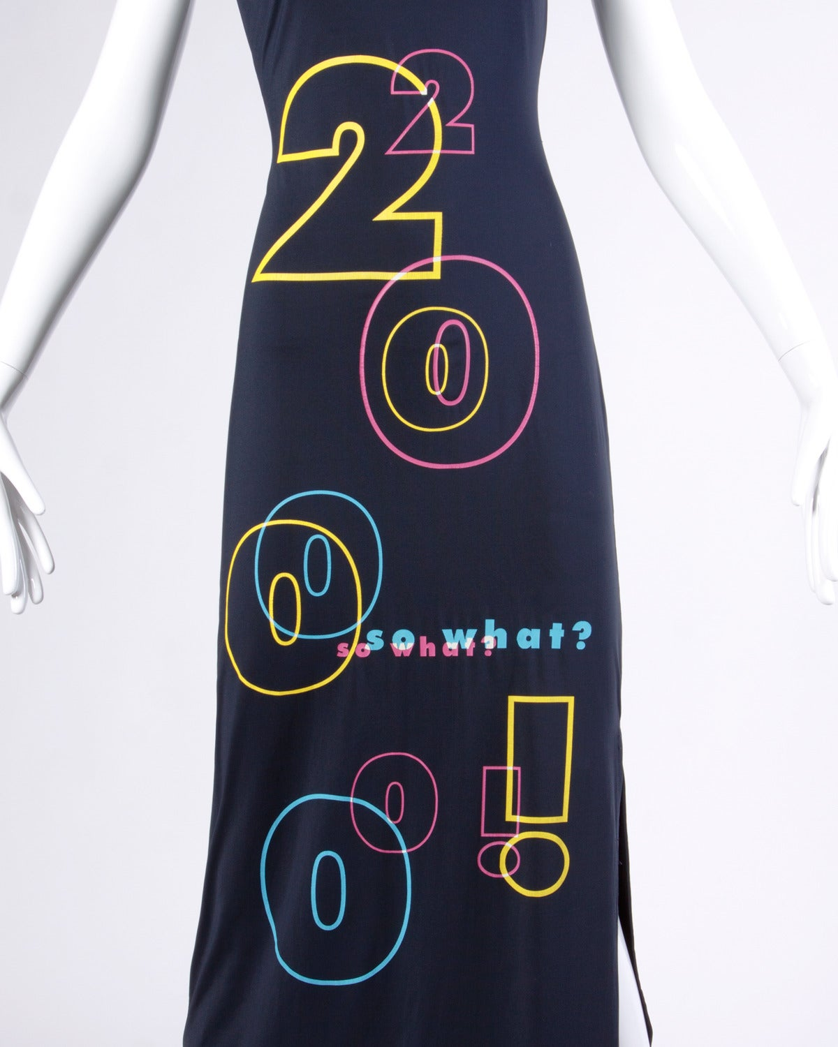 "Women's Moschino Jeans ""2000 so what?"" Y2K Millennium Maxi Dress For Sale"