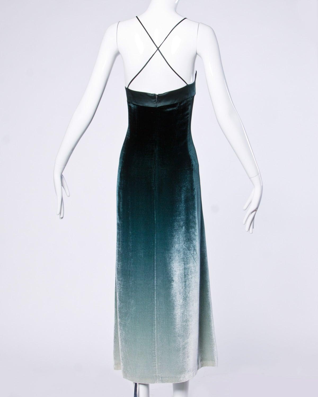 Emanuel Ungaro Plus-Size Green Ombre Silk Velvet Maxi Dress Size XL 3