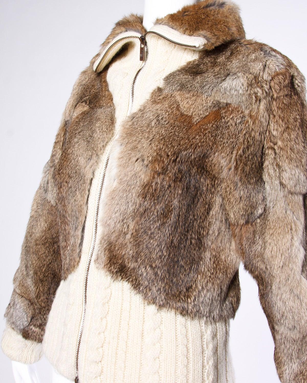 Christian Lacroix Vintage Rabbit Fur + Knit Sweater Bomber Jacket at ...