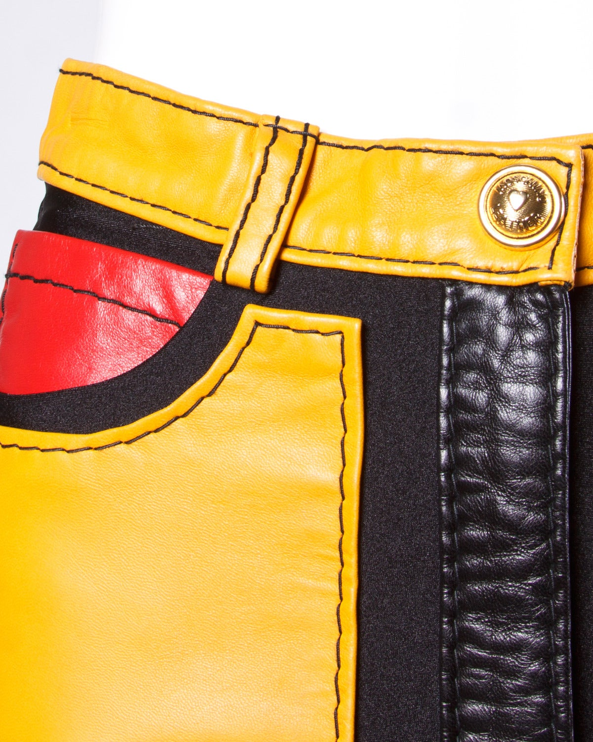 1993 Unworn Moschino Leather Color Block High Waist Hot Pants / Shorts 4
