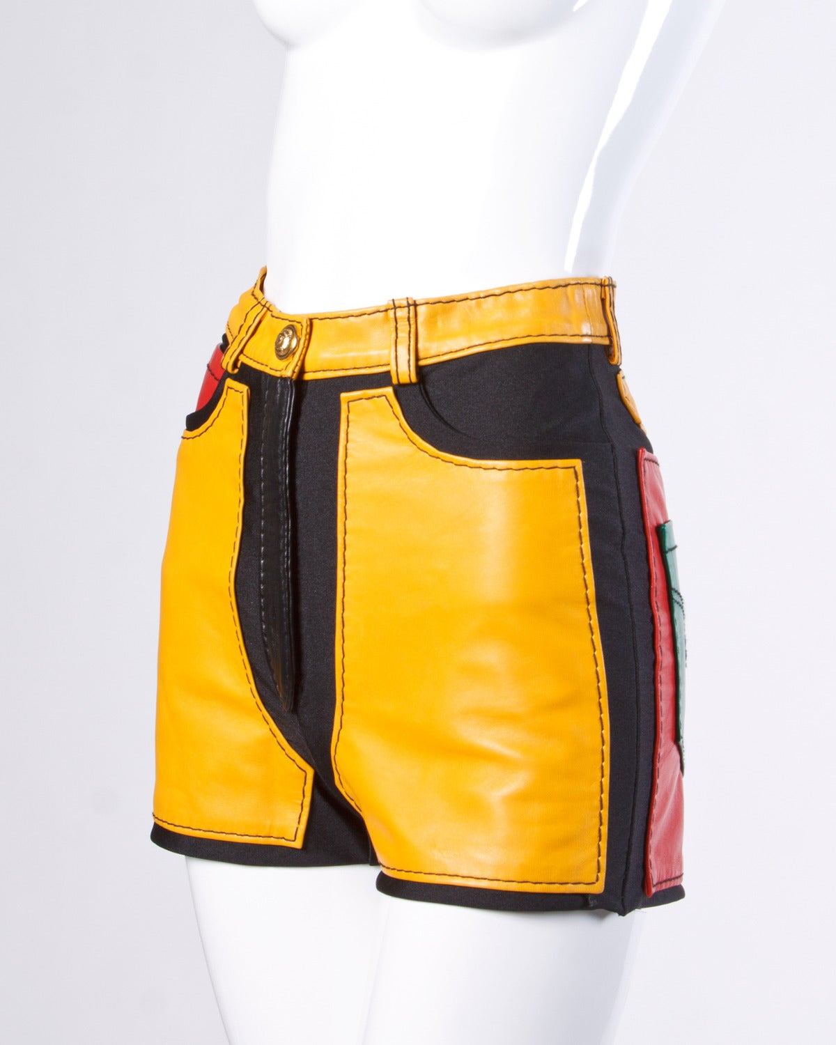 1993 Unworn Moschino Leather Color Block High Waist Hot Pants / Shorts 2