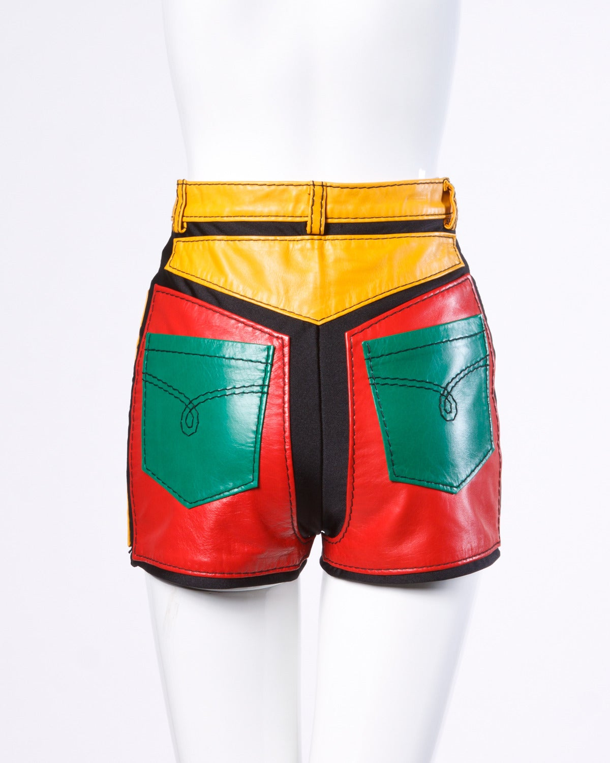 1993 Unworn Moschino Leather Color Block High Waist Hot Pants / Shorts 3