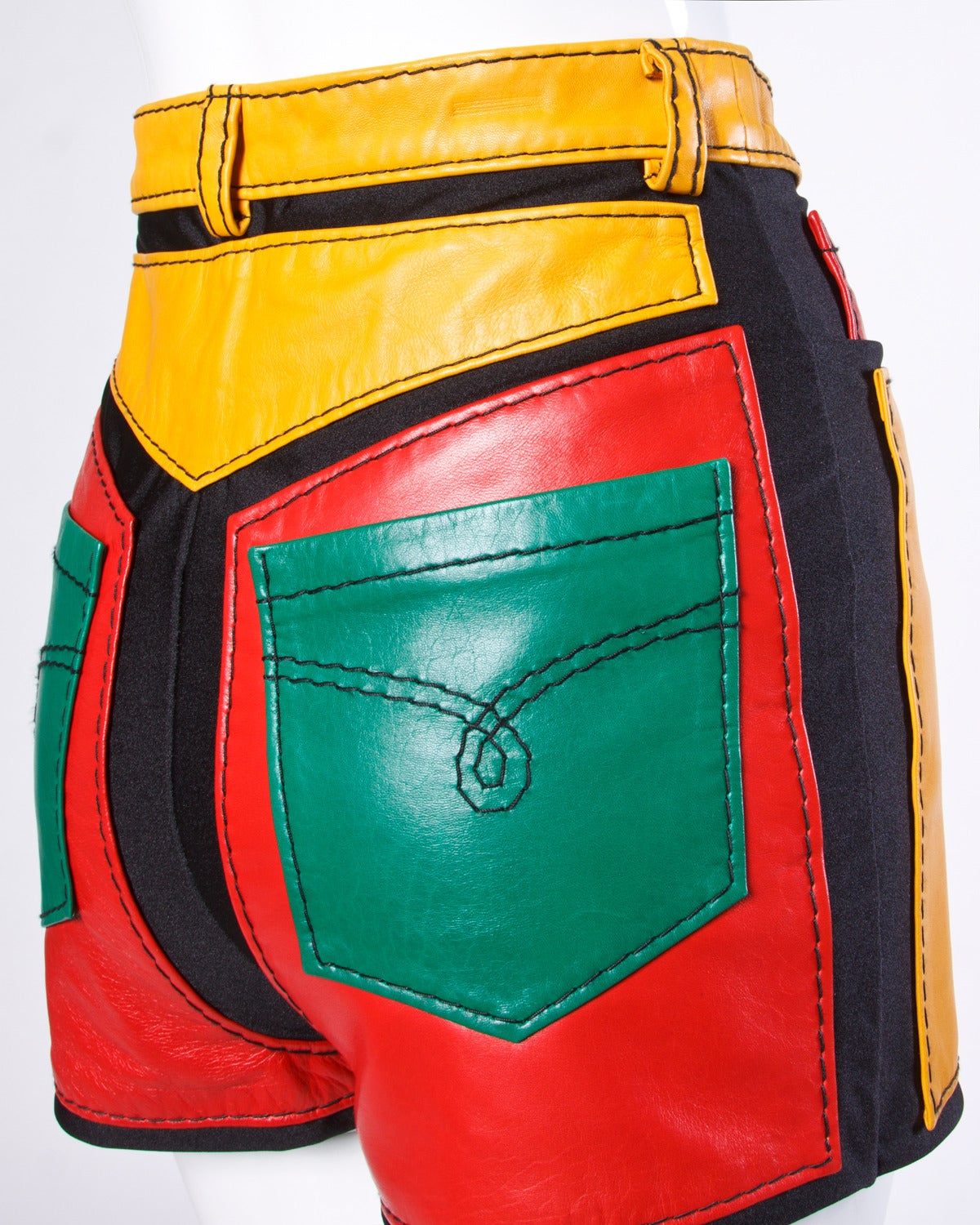 1993 Unworn Moschino Leather Color Block High Waist Hot Pants / Shorts 5