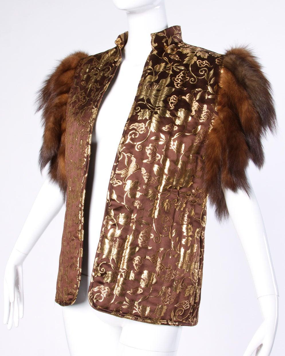 Adrienne Landau Vintage Metallic Gold Silk Vest With Sable