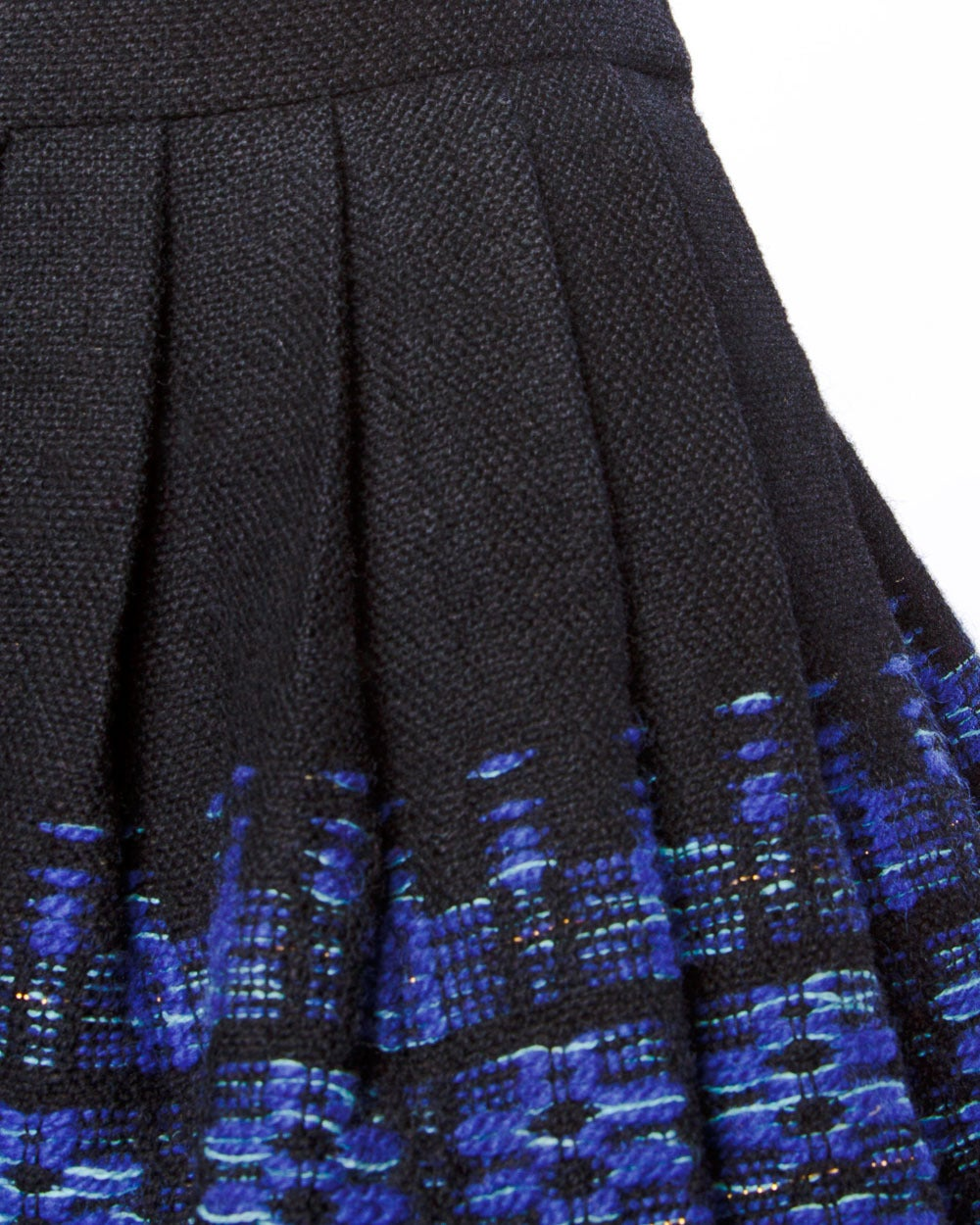 Vintage 1950s 50s Woven Textured Wool Pleated Full Sweep Skirt 3