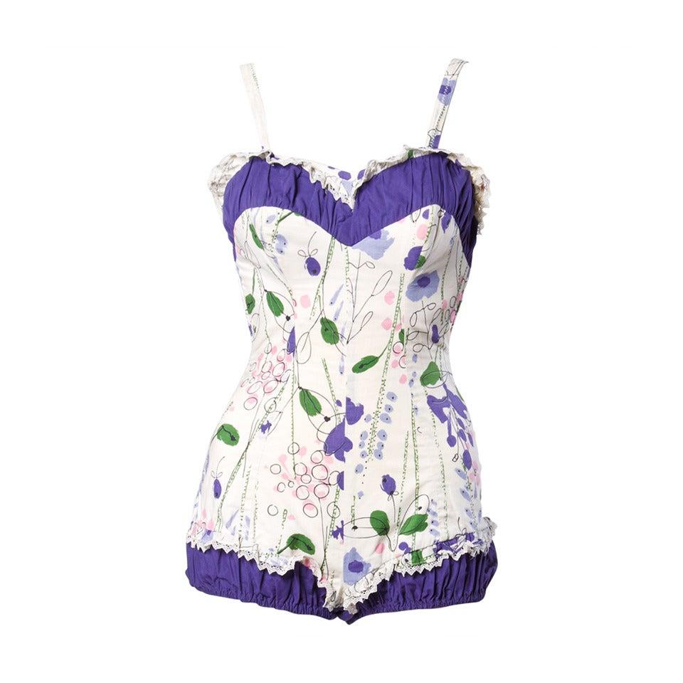 Vintage 1940s 40s Jantzen Floral Print Lace Pin-Up Swim Bathing Suit 1