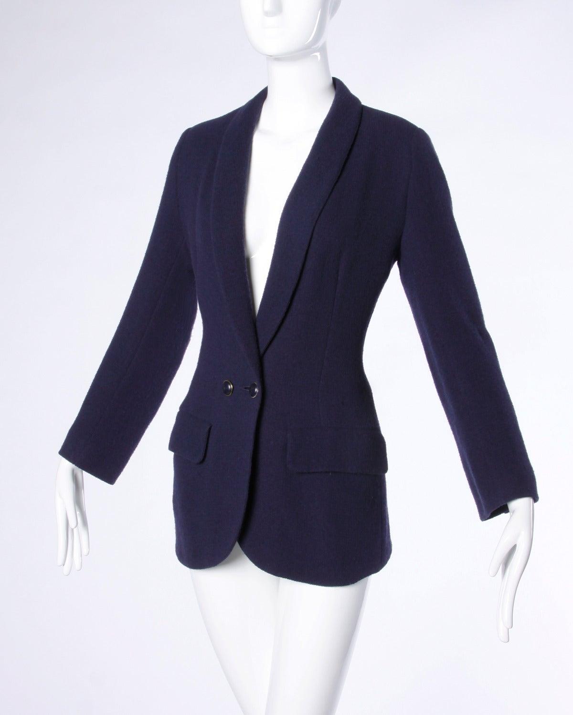 Sonia Rykiel Vintage 1990s 90s Navy Blue Wool Boyfriend Blazer Jacket 2
