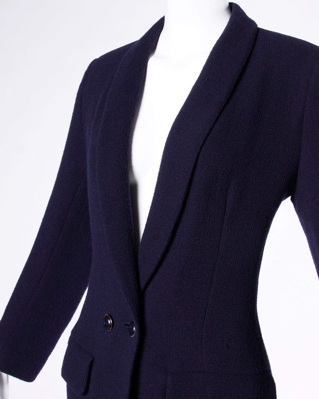 Sonia Rykiel Vintage 1990s 90s Navy Blue Wool Boyfriend Blazer Jacket 5