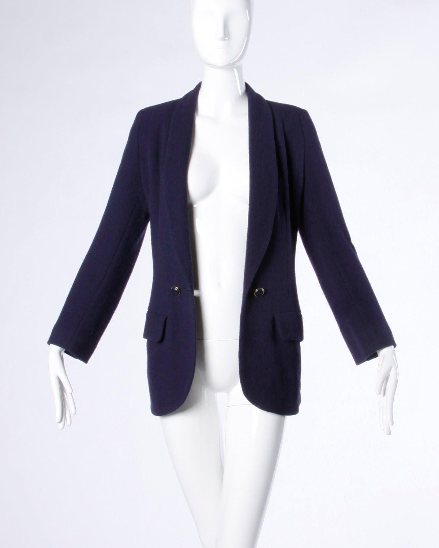 Sonia Rykiel Vintage 1990s 90s Navy Blue Wool Boyfriend Blazer Jacket 4