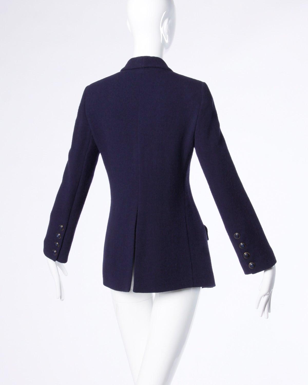 Sonia Rykiel Vintage 1990s 90s Navy Blue Wool Boyfriend Blazer Jacket 3