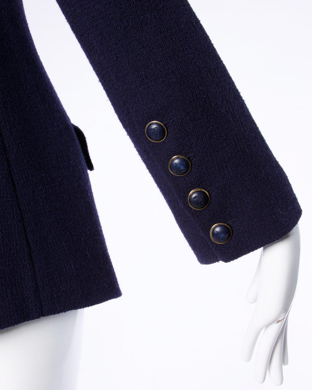 Sonia Rykiel Vintage 1990s 90s Navy Blue Wool Boyfriend Blazer Jacket 8