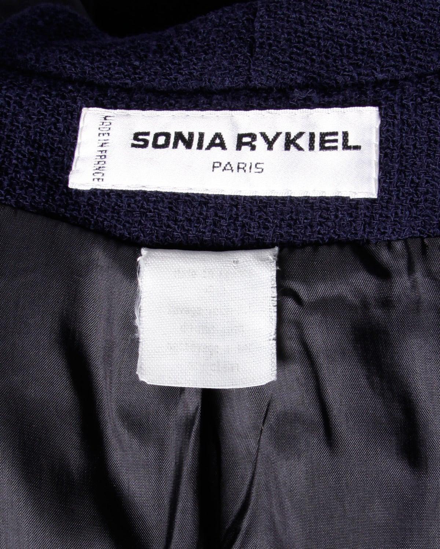 Sonia Rykiel Vintage 1990s 90s Navy Blue Wool Boyfriend Blazer Jacket 9