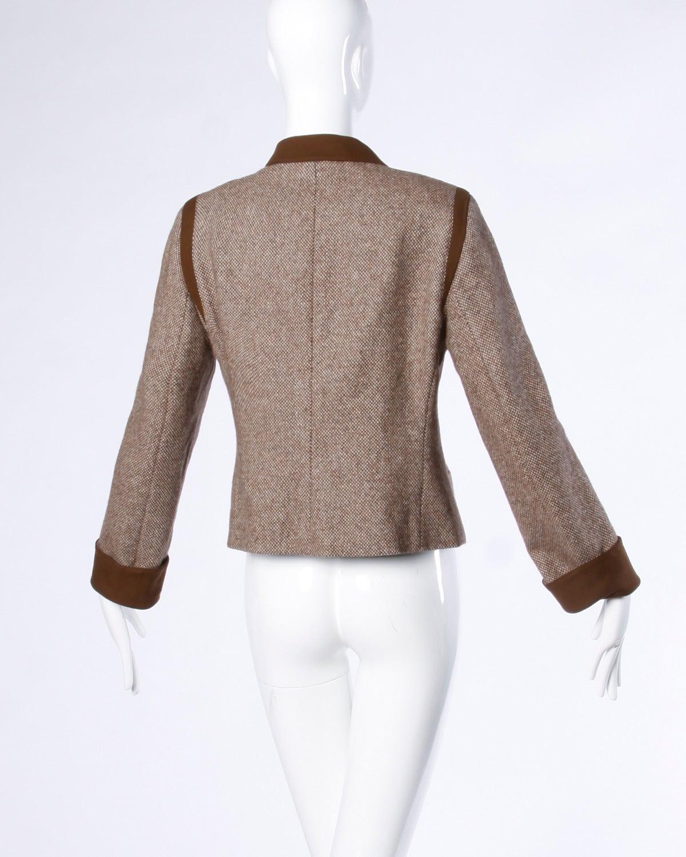 13dc340b199f Women s Louis Feraud Vintage Brown Wool Tweed Blazer or Suit Jacket For Sale
