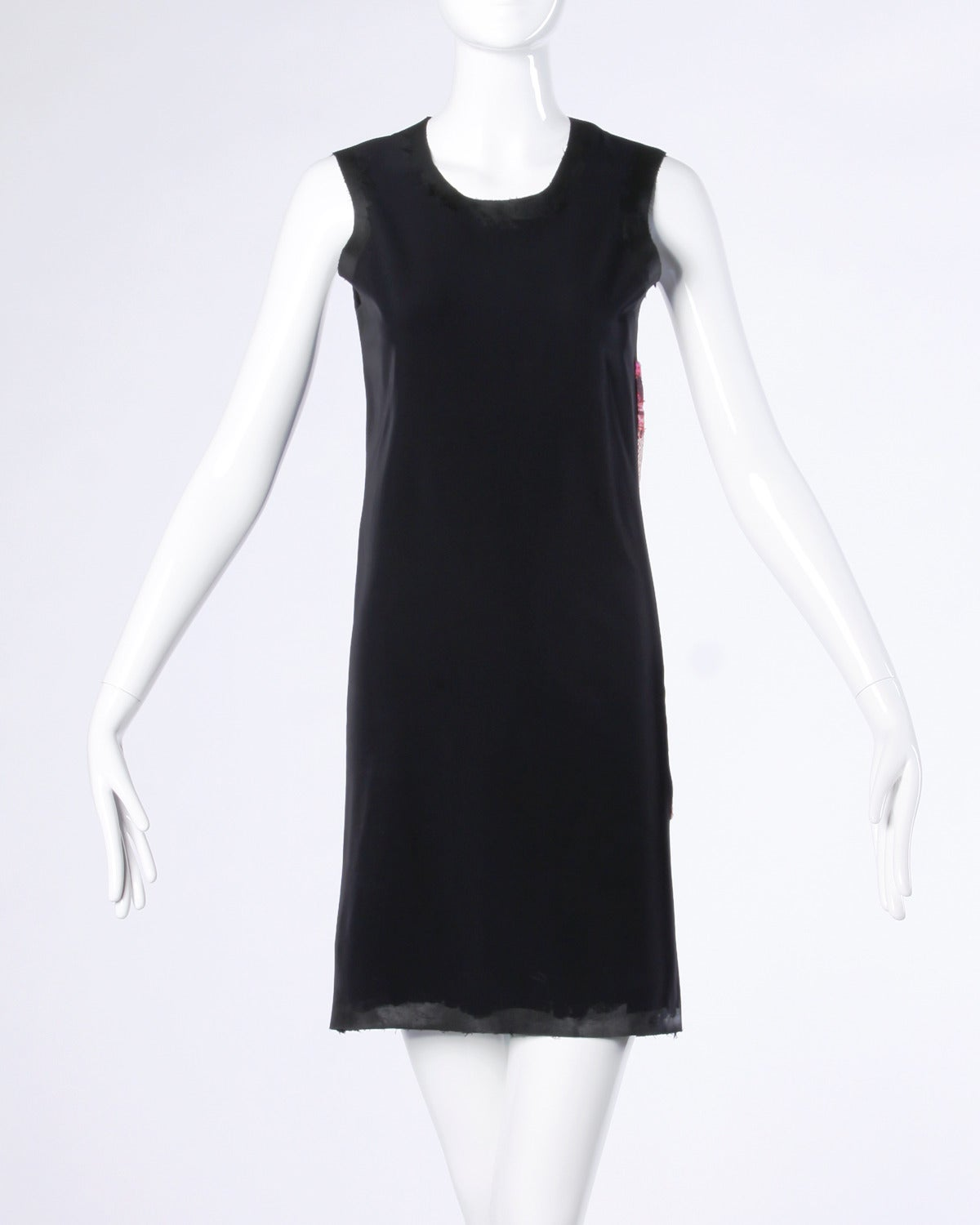 "Unique Comme des Garcons black shift dress with patchwork sides and painted ""wet look"" trim.