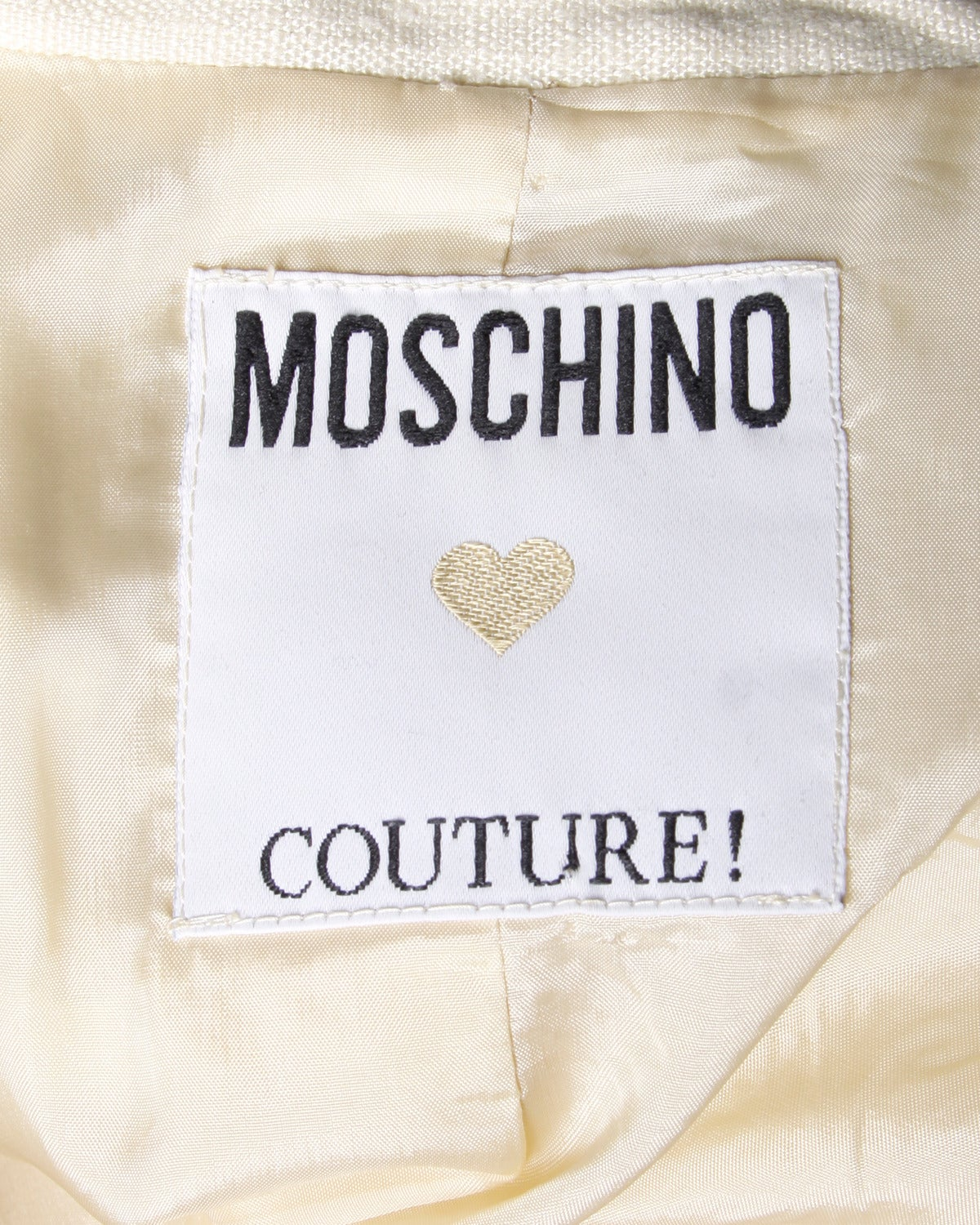 Moschino Couture! Vintage 1990s 90s Cream Blazer or Suit Jacket For Sale 1