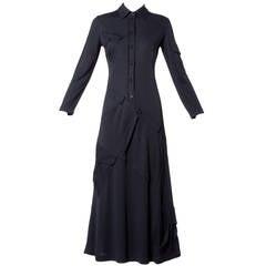 Moschino Vintage 1990s 90s Black Asymmetric Avant Garde Maxi Dress