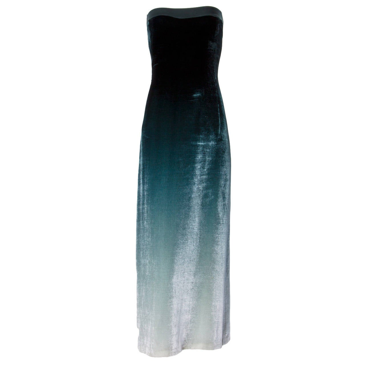Emanuel Ungaro Plus-Size Green Ombre Silk Velvet Maxi Dress Size XL For Sale
