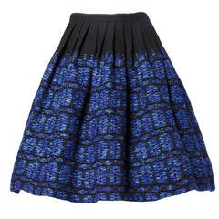 Vintage 1950s 50s Woven Textured Wool Pleated Full Sweep Skirt