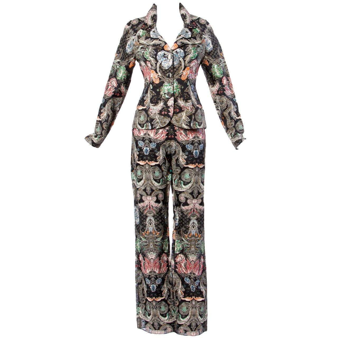Victoria Royal LTD Vintage Sequin Beaded Silk Jacket + Pants Suit Ensemble