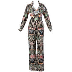 Victoria Royal LTD Vintage Sequin Beaded Silk Jacket + Pants Suit Ensemble