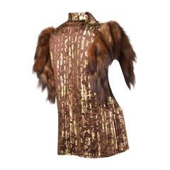 Adrienne Landau Vintage Metallic Gold Silk Vest with Sable Fur Tails