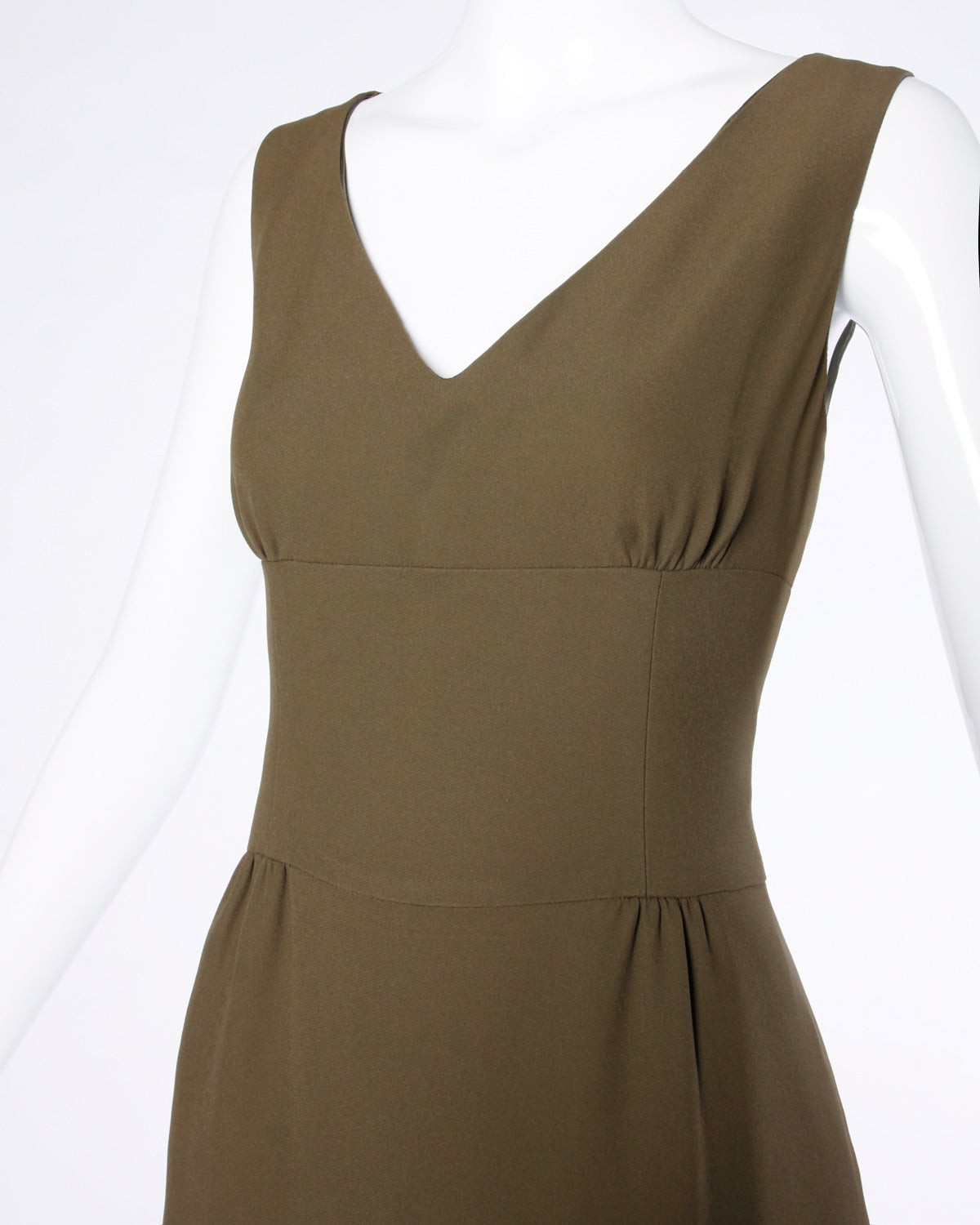 Brown Moschino Vintage 1990s 90s Minimalist Olive Green Maxi Dress For Sale