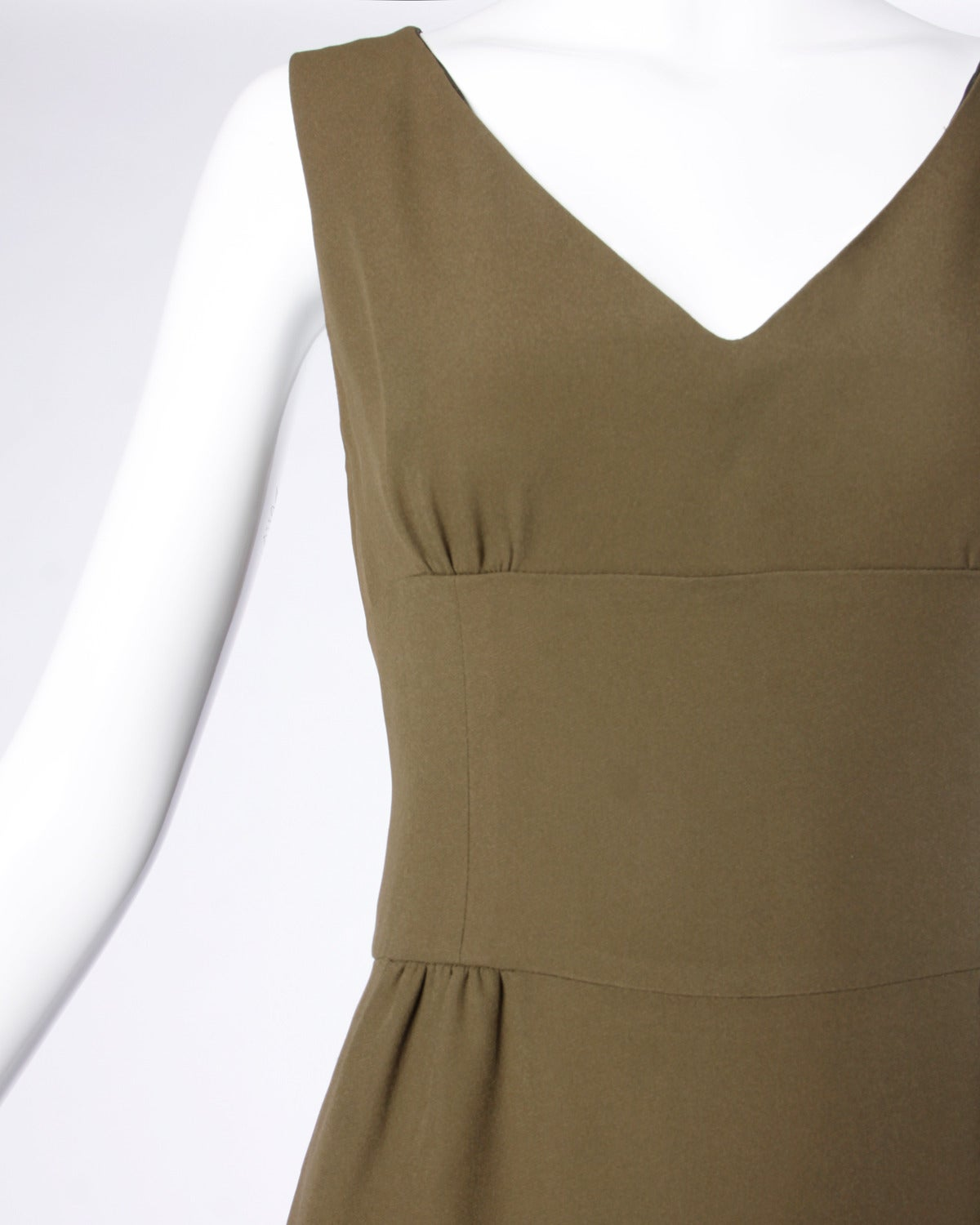 Moschino Vintage 1990s 90s Minimalist Olive Green Maxi Dress In Excellent Condition For Sale In Sparks, NV