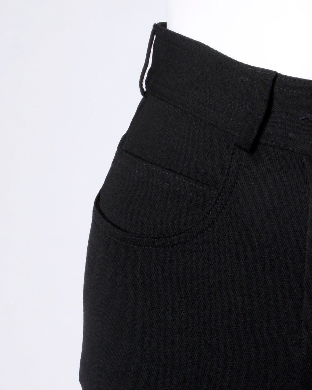 Moschino Vintage Black Wool High Waisted Pants with Heart Button For Sale 2
