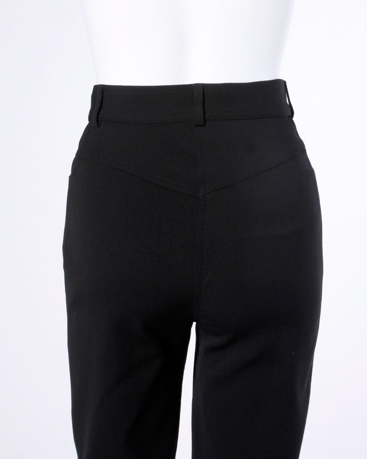 Moschino Vintage Black Wool High Waisted Pants with Heart Button For Sale 3