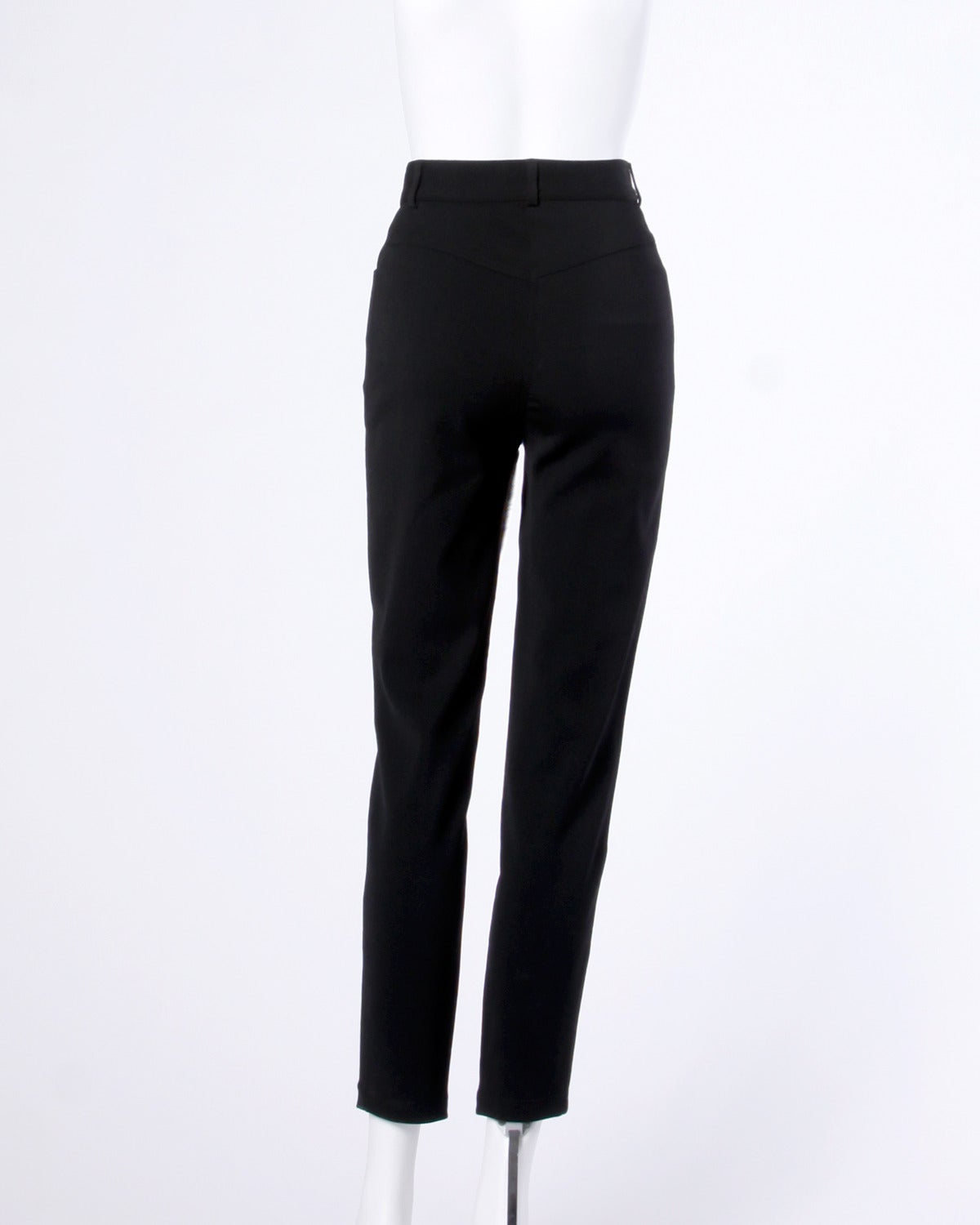 Women's Moschino Vintage Black Wool High Waisted Pants with Heart Button For Sale