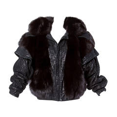 Vintage 1980s 80s Black Fox Fur and Leather Bomber Jacket