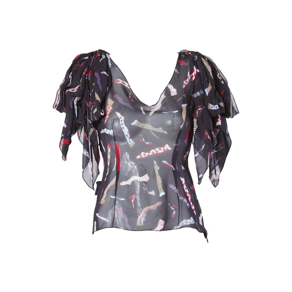 "Moschino Jeans Black Sheer Silk Chiffon ""Socks + Shoes"" Print Top"